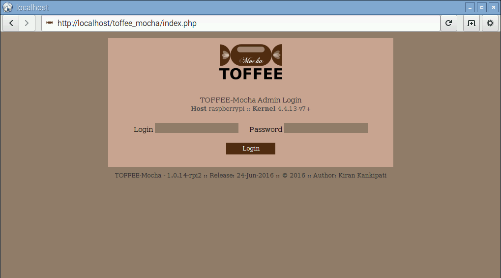 TOFFEE-Mocha Raspberry Pi Login