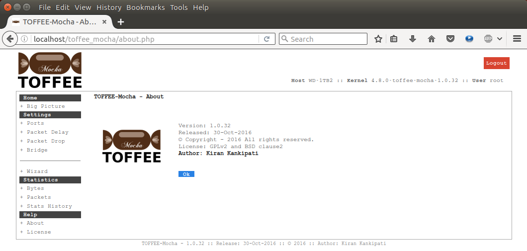 15 TOFFEE-Mocha-1.0.32-1-x86_64 WAN Emulator About page