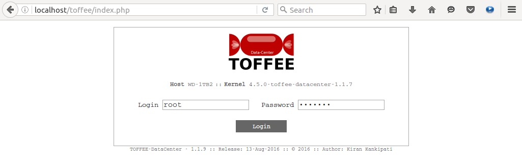 71-1 TOFFEE-DataCenter WAN Optimization Login page