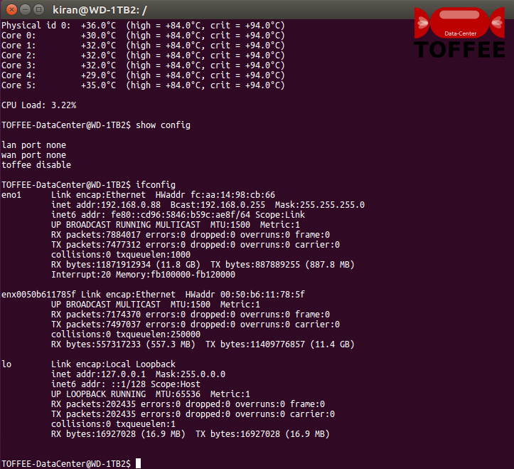 72-6 TOFFEE-DataCenter WAN Optimization cli port info