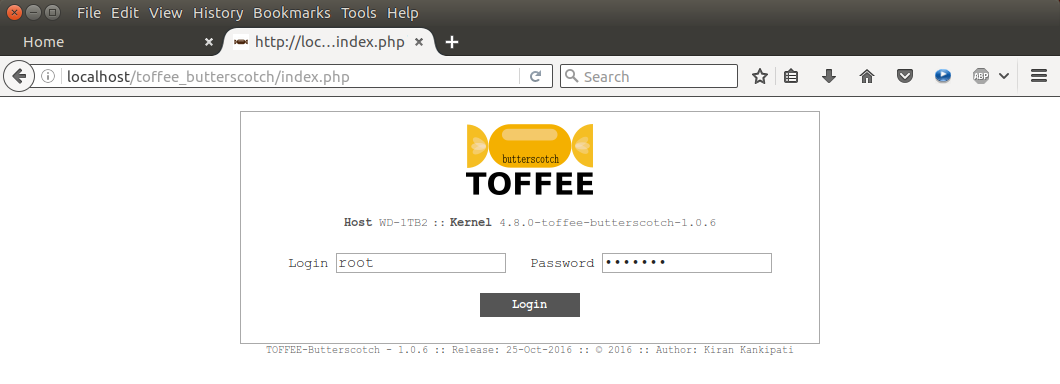 TOFFEE-Butterscotch Internet WAN Bandwidth Saver Login page