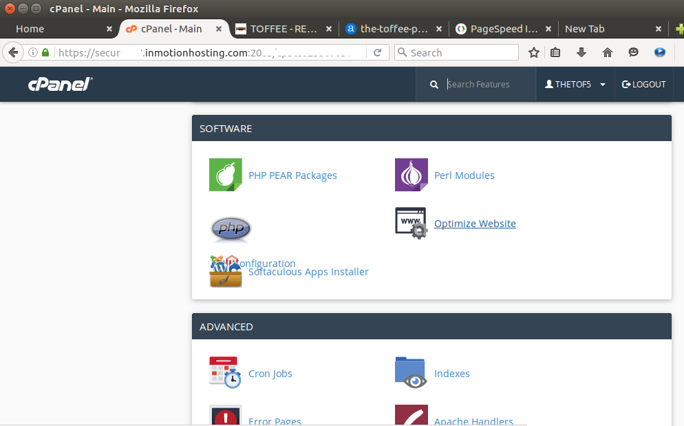 Inmotionhosting cpanel software optimize website