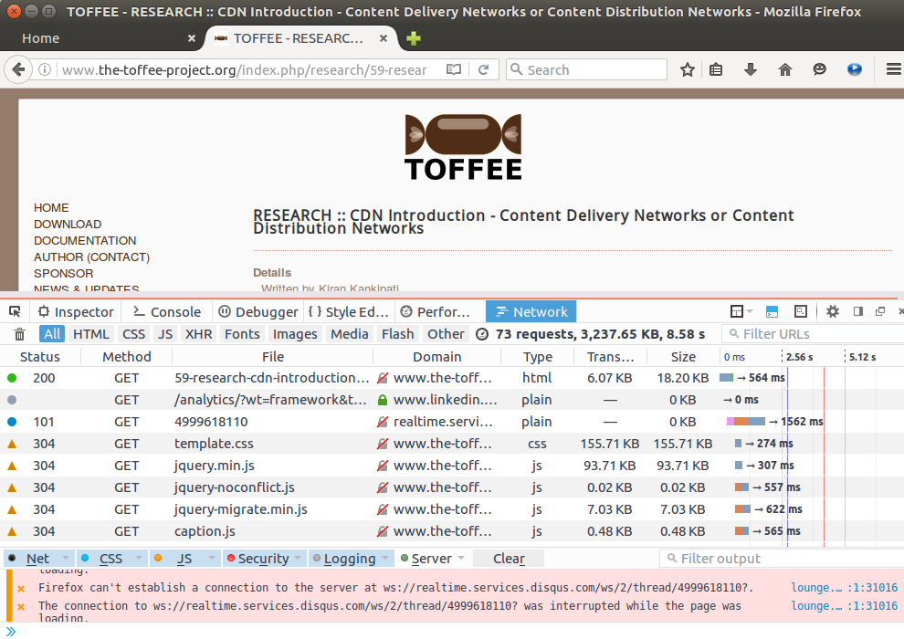 Firefox TOFFEE website inspect element detailed analysis