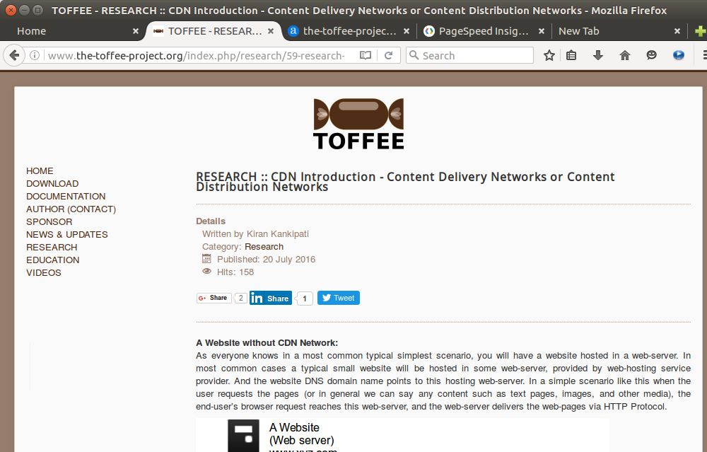 TOFFEE sample webpage analysis