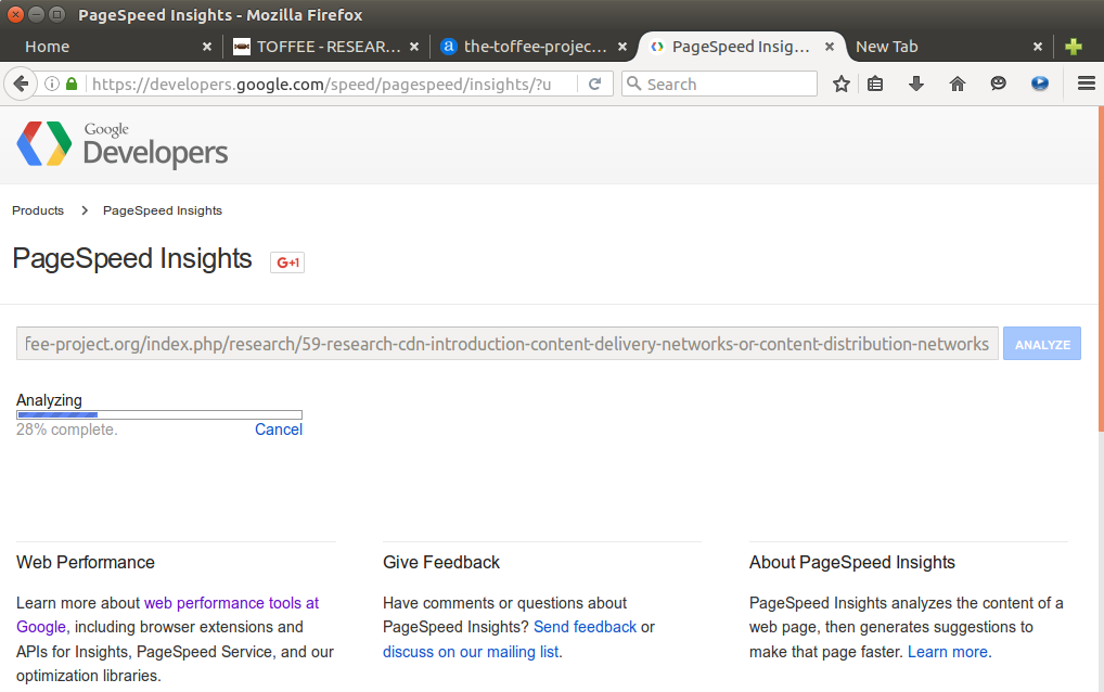Google PageSpeed Insights tool analyzing TOFFEE website
