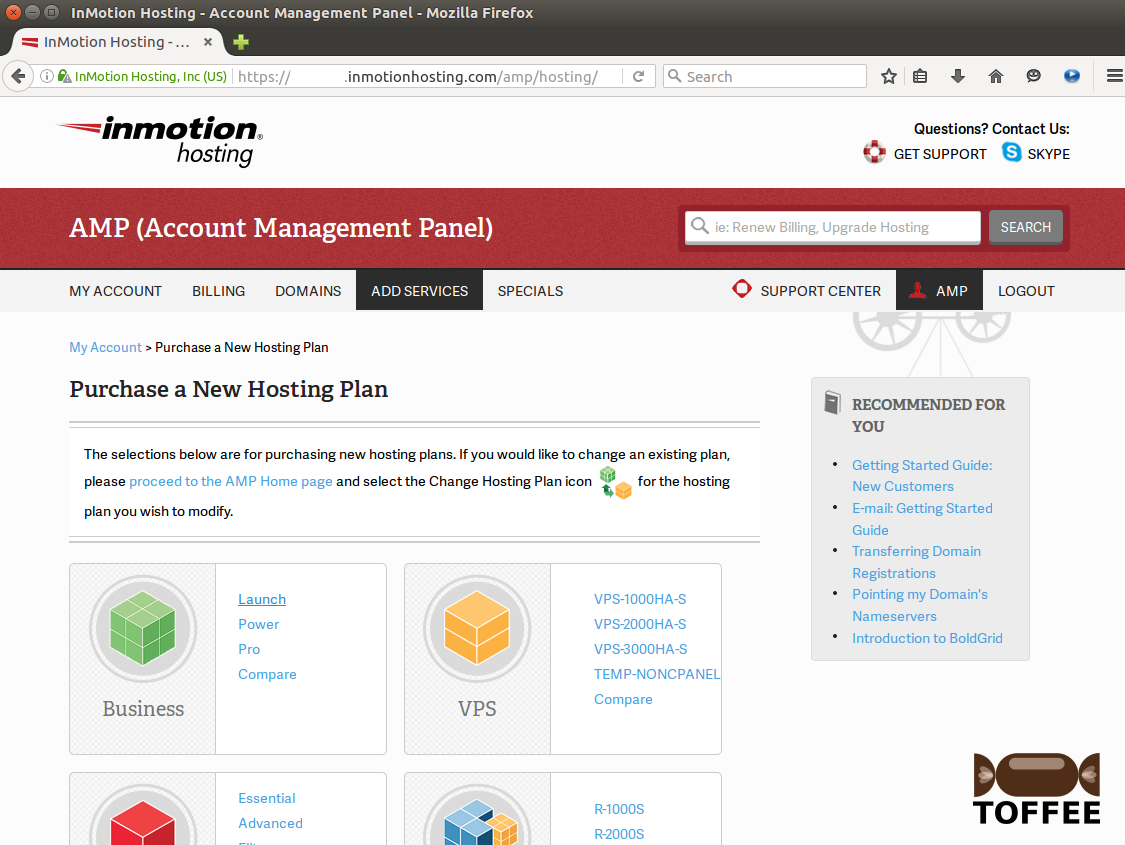 2 Inmotionhosting AddServices Purchase new Hosting plan Business Launch