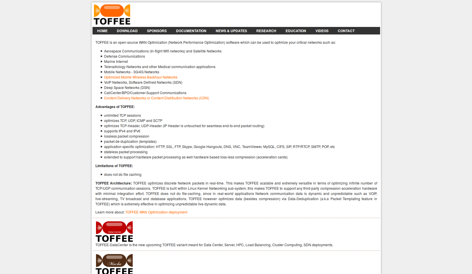 Screenshot of old The TOFFEE Project website built from scratch with PHP